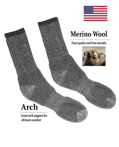 4 Pair Pack Merino Men's Wool Boot Socks, 77% Merino Wool, Hiking Socks