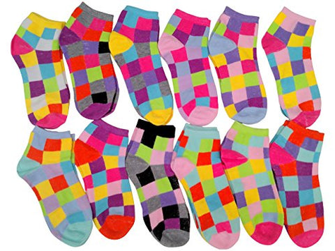 12 Pairs of Sockbin Ankle Socks for Women, Low Cut Colorful Fun Funky Sport Socks