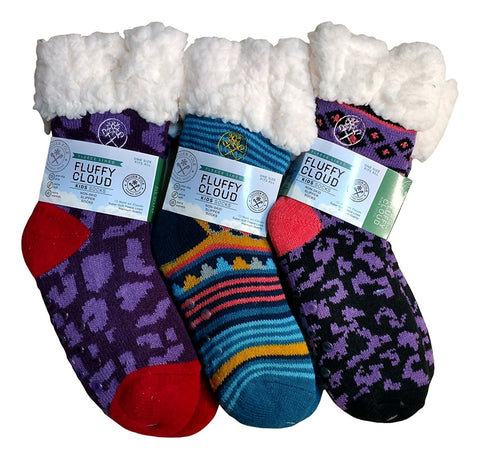 6 Pairs Of Frozen Folk Kids Fleece-Lined Cozy Sherpa Fluffy Cloud Socks Girls, Warm