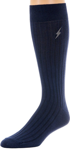 12 Pairs Mens Pima Cotton Over The Calf Dress Socks, Ribbed Textured Socks in Bulk, One Size Assorted