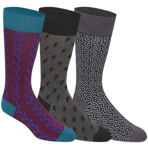 3 Pairs Mens Combed Cotton Brovado Patterned Dress Socks