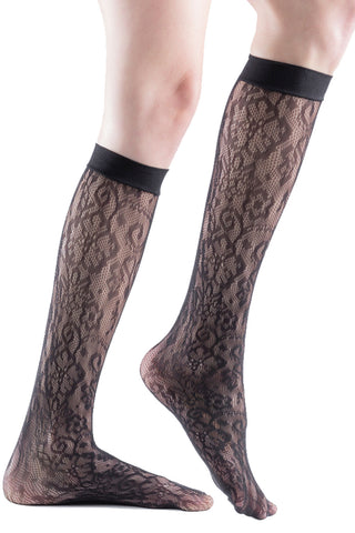 3 Pairs of Womens Fishnet Dress Socks, Trouser Sock Knee Highs