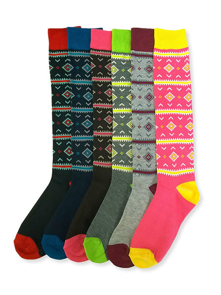 6 Pair Pack Of Sockbin Womens Patterned Knee High Socks, New And Trendy