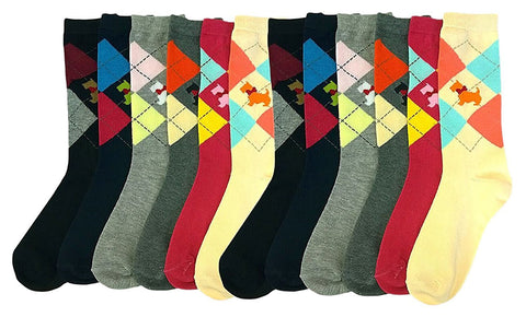 12 Pairs of Sockbin Women Colorful Crew Socks, Crew Cut Socks