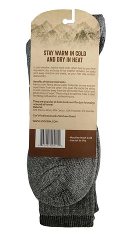 6 Pairs of Sockbin Men's Merino Wool Thermal Socks, Grays, Size 10-13