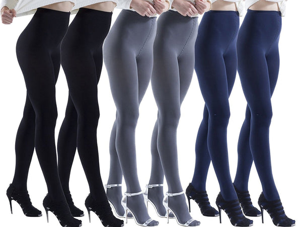 6 Pair Pack of Frozen Folk Womens Brushed Thermal Tights, Terry Lined, Warm