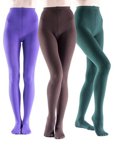 3 Pairs Womens Brushed Thermal Tights, Terry Lined, Warm