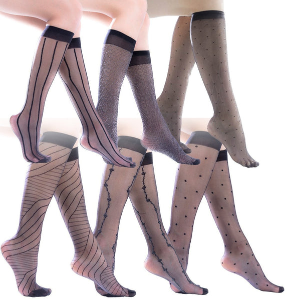 6 Pairs of Womens Sheer Fashion Trouser Socks, Patterned Nylon Knee Highs
