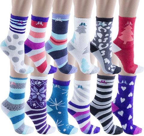 12 Pairs Womens Fuzzy Socks, Non Skid Slipper Socks, Gripper Sock Sole, Furry Fluffy Soft