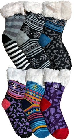 6 Pairs of Kids Fleece-Lined Cozy Sherpa Fluffy Cloud Socks, Non Skid Gripper Sock, Warm Soft Plush
