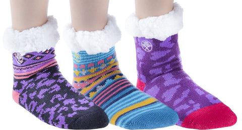 Frozen Folk Kids Fleece-Lined Cozy Sherpa Fluffy Cloud Socks Girls, Warm (6 Pairs Girls)