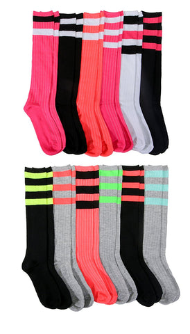 12 Pairs of Womens Colorful Striped Referee Knee High Socks, Bright Neon Colored Ribbed Soft Knee Sock
