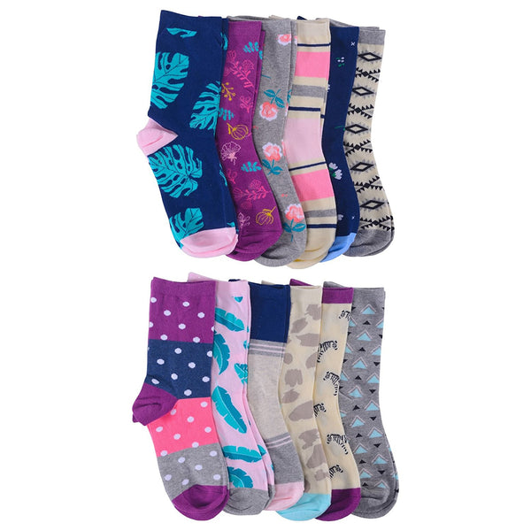 12 Pairs Womens Colorful Socks, Cotton Patterned Crew Sock, Stripes Motifs, Novelty Colored