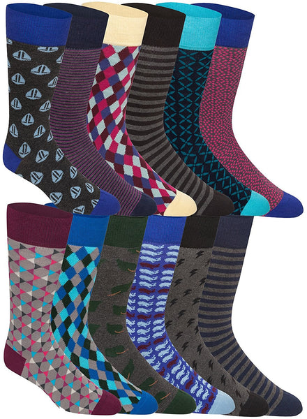 12 Pairs of Mens Colorful Dress Socks, Stripes, Soft Best Quality, One Size