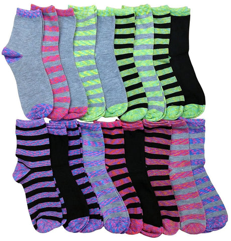 18 Pairs of Womens Patterned Crew Socks, Bright Colored Socks in Bulk Size: 9-11