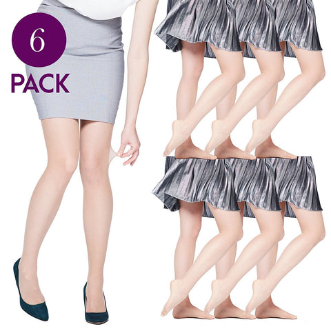 6 Pairs Womens Silky Ultra Sheer Pantyhose, 15 Denier, Invisible Effect Nude Hosiery, Durable