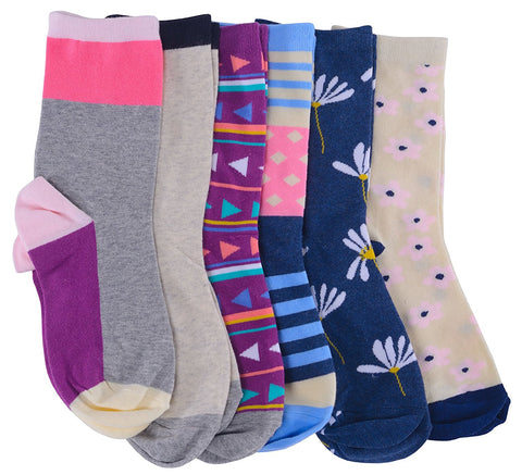 Womens Colorful Socks, Cotton Patterned Crew Sock, Stripes Motifs, Novelty Colored