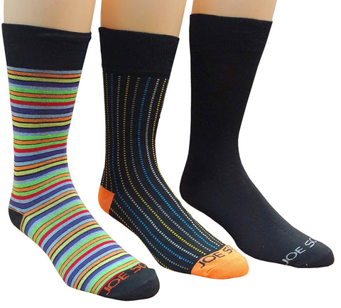 3 Pairs Men's Dress Socks, Colorful Patterned Solid & Striped Socks, Casual Wear