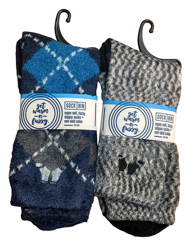 2 Pairs Mens Fuzzy Socks, Holiday Gift, Non-Skid Sole, Plush, Softest