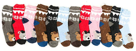 12 Pairs Womens Fuzzy Socks with Grippers, Non-Skid Patterned Colorful Striped Slipper Sock