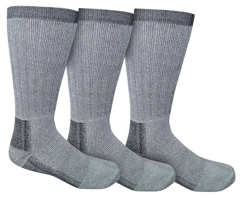 3 Pairs of Sockbin Kids Merino Wool Thermal Socks, Grays, Size 6-8