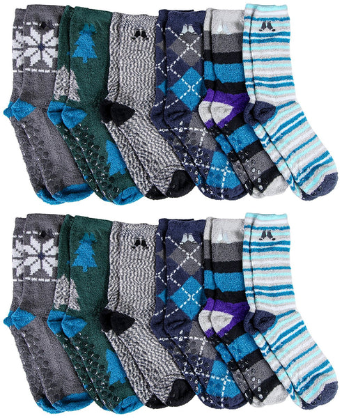 12 Pairs of Sockbin Mens Fuzzy Socks, Non-Skid Gripper Sock, Patterned Colorful Striped,Holiday Gift, No Slip Grip Plush Softest