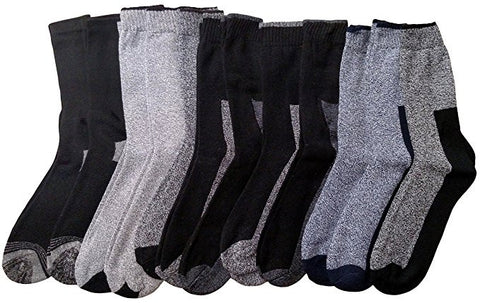 12 Pairs Of Sockbin Mens Thick Warm Winter Thermal Socks With Two Tone Marled, BT02