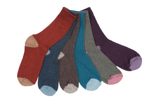 6 Pair Of Womens 30% Wool Winter Boot Socks, Winter Thermal Socks