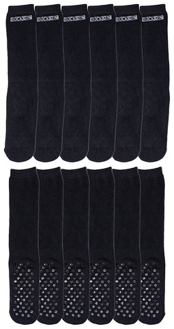 12 Pairs of Mens Slipper Socks, Patterned Gripper Socks