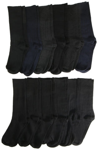 12 Pairs of Mens Diabetic Dress Socks, 80% Cotton, Solid Colored Black, Navy Blue Gray, Ribbed, Nonbinding Top, Edema, Neuropathy Sock