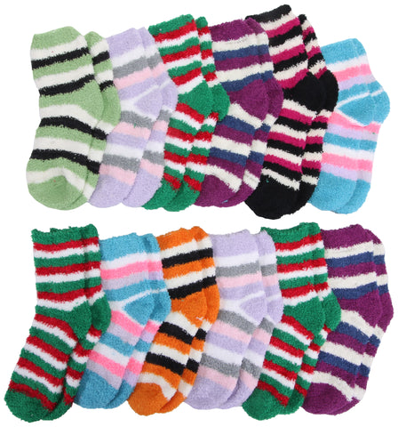 12 Pairs of Womens Colorful Patterned Striped Fuzzy Socks, Trendy Furry Warm Sock Gift