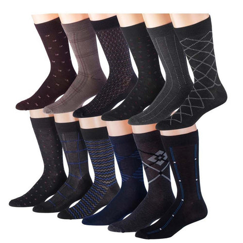 12 pairs of Men's Conservative Dress Socks, Assorted Patterns, M5300