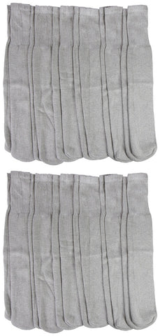 12 Pairs Mens Tube Socks, Cotton, Over The Calf, Full Terry Cushion, White Gray or Black, Ribbed, Bulk Value Sock Packs