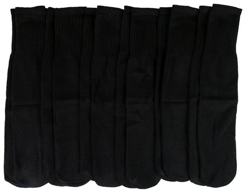 12 Pairs Womens Tube Socks, Cotton Full Terry Cushion, Mid-Calf White Gray or Black, Ribbed, Bulk Value Sock Packs