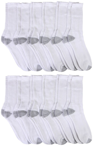 12 Pairs Mens Crew Socks Cotton, Full Terry Cushion, Bulk Athletic Crew Sock