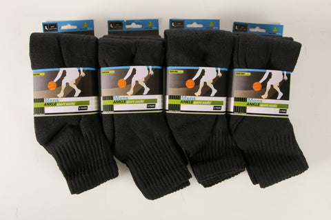 12 Pairs of Mens Cotton Quarter Ankle Socks, Cushioned, Value Bulk Socks
