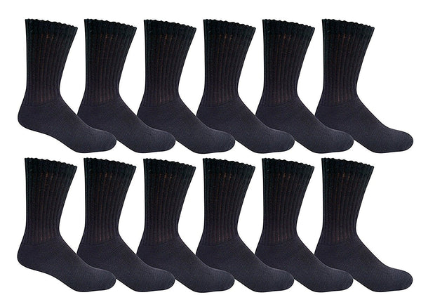 12 Pairs of Mens Cotton Crew Socks, Cushioned, Value Bulk Socks