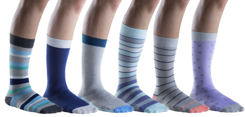 6 Pairs of Mens Patterned Colorful Dress Socks, Fashion Dress Socks, Striped Patterns