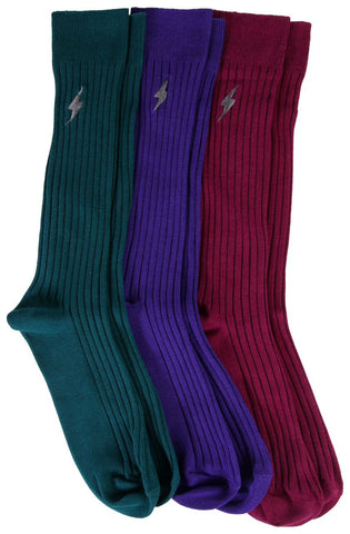 3 Pairs Mens Pima Cotton Over The Calf Dress Socks, Ribbed Textured Socks