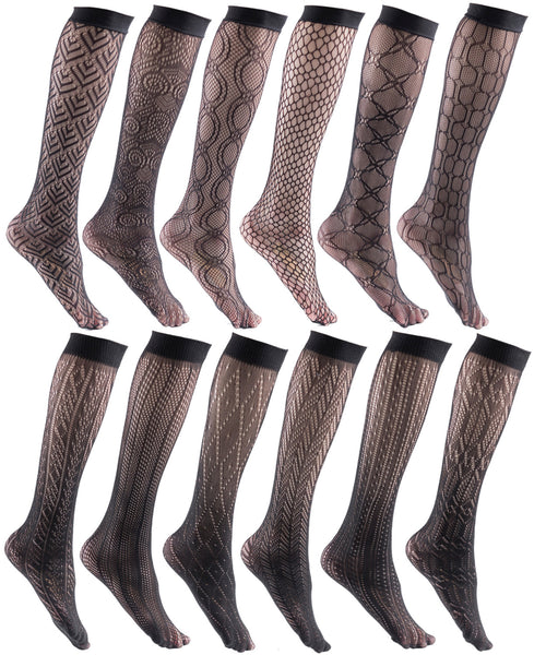 12 Pairs Womens Fishnet Trouser Socks