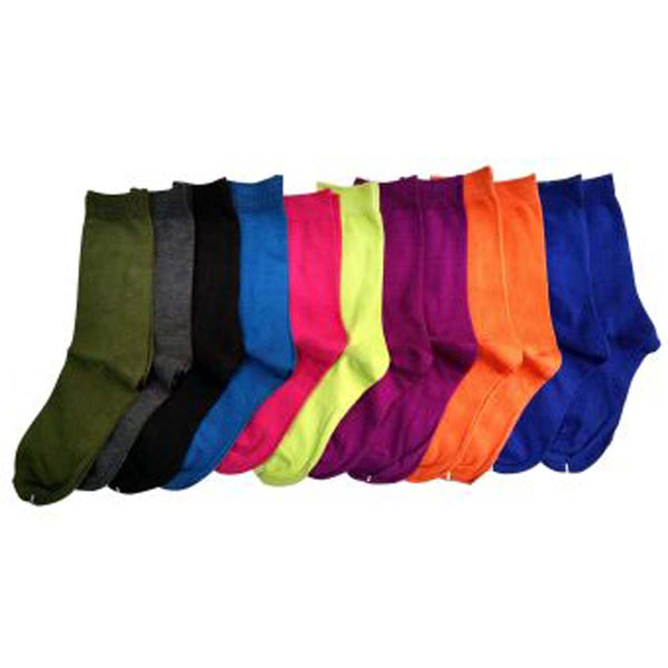 12 Pairs Womens Bright Colored Crew Socks, Lightweight