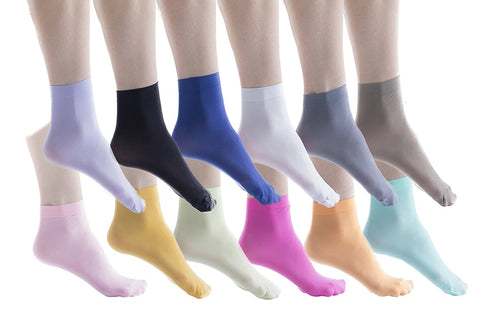 12 Pairs Womens Nylon Ankle Socks, Solid Colored, Thin, 50 Denier