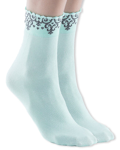 Womens Malva Cotton Ankle Dress Socks, Baroque Pattern Trim