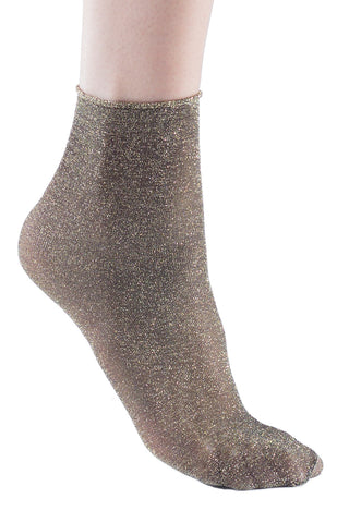 1 Pair Shiny Metallic Dress Socks, Trasparenze Crew Shimmery Glitter Sparkle Socks