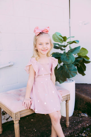 stardust, flutter sleeve kids dress