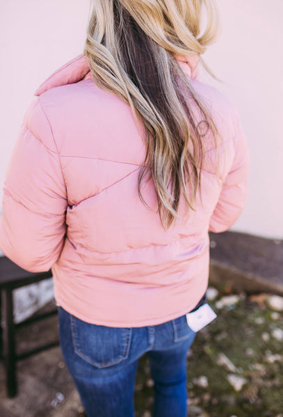 dakota puffer coat- pink