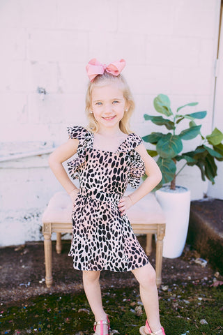 north cheetah, flutter sleeve kids dress