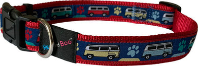Hem & Boo dog collar. Red/blue camper vans