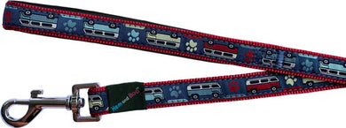 Hem & Boo dog lead.  Camper vans red/blue