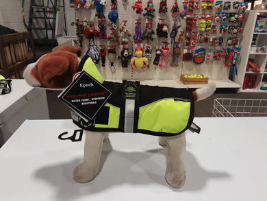 Animate harness zip dog coat. Hi vis with collar.